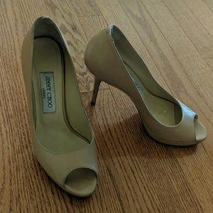 Nude Jimmy Choo peep-toe heels